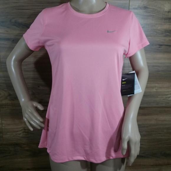 0527a207 Nike Tops   Nwt Running Dri Fit Upf 40 Pink T Shirt Med   Poshmark